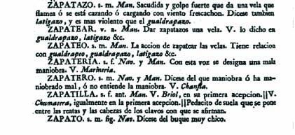 Zapatero según el Diccionario Marítimo Español